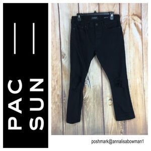 💸Men's PacSun black distressed SKINNY Jean sz 30